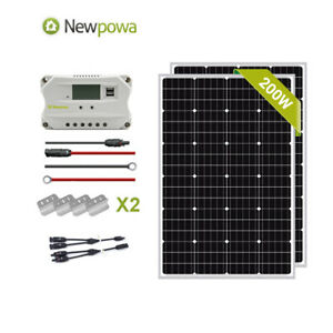 Newpowa 200w Mono Solar Panel 12v System Controller Mounts Mc4 Wire Charging Kit
