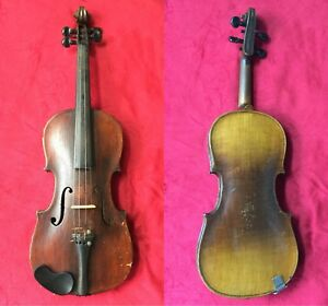 Antique Violin 4 4 German Markneukirchen Saxony One Piece Back 19th Century
