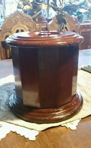 Vintage Wooden Humidor Wood Box Canister Tea Caddie Urn Metal Lined
