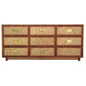 Vtg Woven Rattan And Faux Bamboo Dresser 9 Drawer Wrapped Credenza Boho Coastal