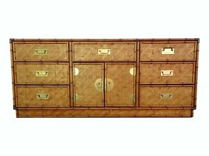 Vintage Dixie Woven Rattan Faux Bamboo 9 Drawer Door Dresser Credenza Sideboard