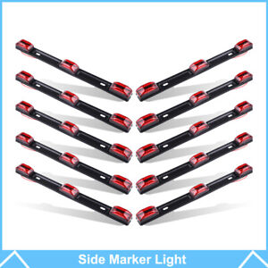 10pcs 14 Red Clearance Marker Light Bar 9led Trailer Stainless Steel Waterproof