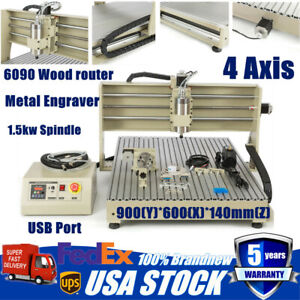 4 Axis Usb 6090 1 5kw Vfd Cnc Router Engraving Milling Drilling Machine Engraver