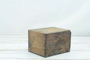 Antique Vintage Wood Box Slide Top Storage Small Wood Trinket Box