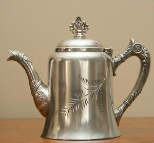 Antique Rogers Co Walling Ford Ct Victorian Style Sliver Plate Tea Coffee Pot