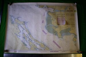 Canada Strait Of Georgia British Columbia 46x33 Vintage 1988 Nautical Chart Map