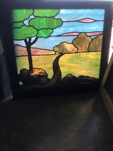 Sg 2905 Antique Stained Glass Rudy Brothers Landscape Window 32 5 X 29h