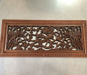 Beautiful Antique Dragon And Bird Wood Carving Wall Art
