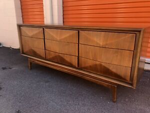 Mid Century Walnut Diamond Front Long Dresser Or Credenza By United