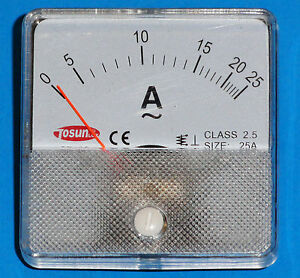 Ac Analog Ammeter 0 To 25 Amp Panel Mount Pm0025a ac