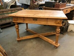 Antique Continental Pine Or Beech Criss Cross Desk Or Work Table Brewery Cafe