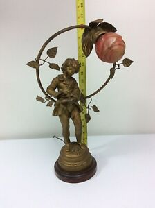 Vintage Figural French Art Nouveau Table Lamp Art Sculpture 16 H X 10 W