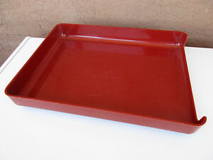 Vintage Plastic Paper Tray Holder Reddish Orange Desktop Office