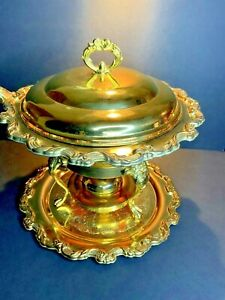 International Silver Chafing Dish Gold Plated Vintage Buffet Catering Party e21