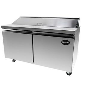 Saba Sps6016 60 2 Door 16 Pans Sandwich Salad Refrigerator Prep Table Cooler
