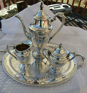 Vintage International Silver Co Castleton Silver Plated 4 Pc Coffee Tea Set