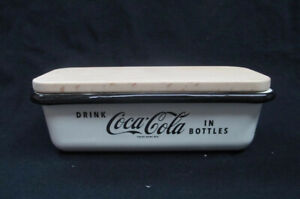 Coca-Cola Cream Enamel Butter Dish with Wood Lid  - BRAND NEW