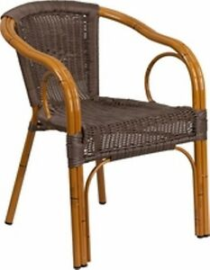 New Restaurant Commercial Patio Chair With Dark Brown Bamboo Alum Frame Set Of 4