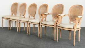 Set Of 6 Louis Xvi Style French Italian Cane Back Oval Dining Chairs 1960s