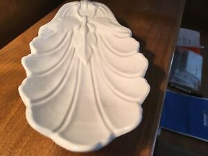 Vintage Red Cliff Ironstone White Leaf Shell Shape Dish Sydenham Pattern
