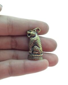 Thai Amulet Tiger Brass Have Power Miracle Prosperity Rich Lucky Charm Happiness