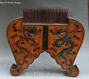 15 Chinese Ancient Wood Lacquerware Palace Dragon Woodwind Musical Instrument