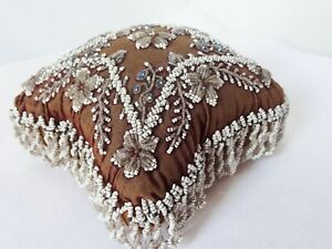 Antique Victorian Bead Work And Velvet Pin Cushion Repair