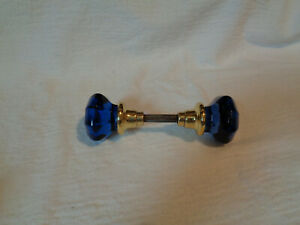 Antique 8 Sided Rare Glass Doorknobs Colored And Dyed Cobalt Blue Brass Hub