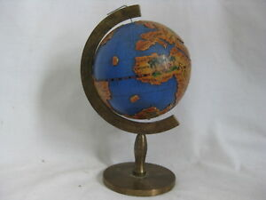 Vintage Small Color Globe Earth World Unique Antique Style Italy Brass Base