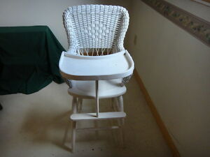 Antique Heywood Wakefield Wicker High Chair Child S Table Chair With Shelf