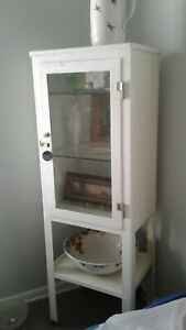 Midcentury Medical Apothecary Cabinet White Steel Glass Door
