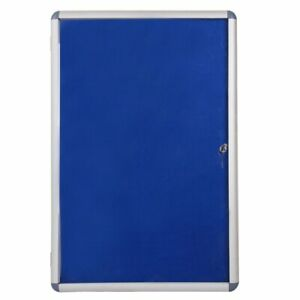 Notice Board Class Aluminium Framed 36x24 Tamperproof Lockable Blue Felt Backing