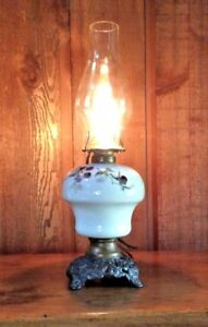 Victorian Brass Electrified Hand Painted Parlor Oil Lamp With Chimney