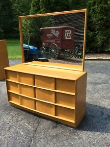 Vintage Heywood Wakefield 6 Drawer Wheat Dresser With Mirror Very Nice