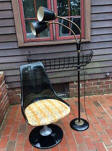 Vintage Mid Century Chromecraft Lucite Swivel Chair With 2 Pod Floor Lamp