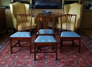 Set Of 4 Mahogany Chippendale Tie Back Chairs 2034 Biggs Furniture Kittinger