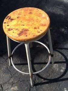 Vintage Industrial 25 High Wood Metal Stool 14 Round Seat Very Good