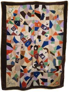 Antique Victorian Crazy Quilt Velvets Woven Silks Cats Mice Dwarves 55 X 72 1890