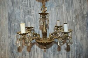 Antique Brass 4 Arm Small Chandelier Crystals Hanging Light Fixture Working