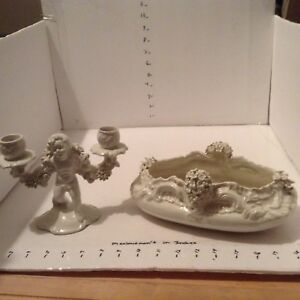 Vintage Italian Porcelain White Flower Candelabra And Bowl
