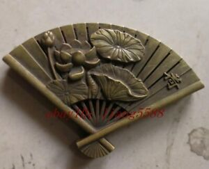 Chinese Old Tibet Silver Copper Incense Burner Hand Carved Fan And Lotussculptur