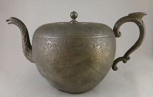 Antique Chinese Engraved Kut Hing Swatow Pewter Teapot 2nd 19th C 9