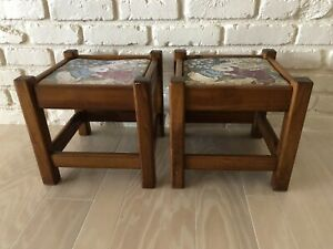 2 Vintage Upholstered Stools Small Seat Bench Mcm Bunnies Easter Removable Seat