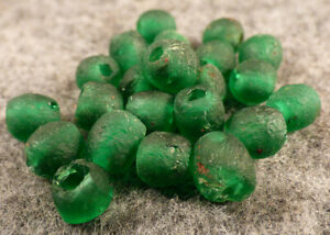 10 Old Huron Indian Venetian Green Glass Trade Beads Fur Trade Era