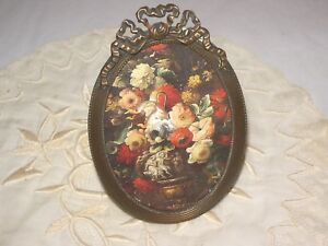 Antique French Vintage Oval Miniature Picture Frame Bronze Brass With Bow