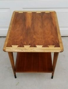 Mid Century Danish Modern 60 S Lane Walnut Ash 2 Tier End Table W Refinished Top