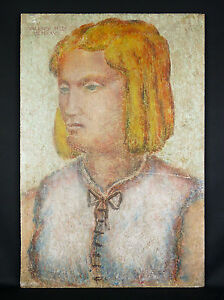 Marcel Valensi Xx Painting Art Deco De 1927 Sur Panel Of Cement