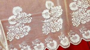 Unused Antique Cream Color Silk Tulle Bridal Veil Maltese Lace Embroidery 50x44