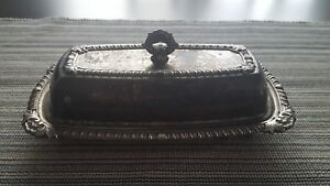 Vintage Butter Dish Silver Plated Serving Dish With Lid