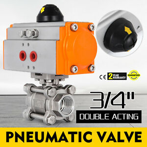 3 4 Pneumatic Ball Valve Double Acting 3 piece Sanitary Food Stainless Steel